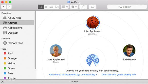 Overfør filer til iPhone / Mac med AirDrop