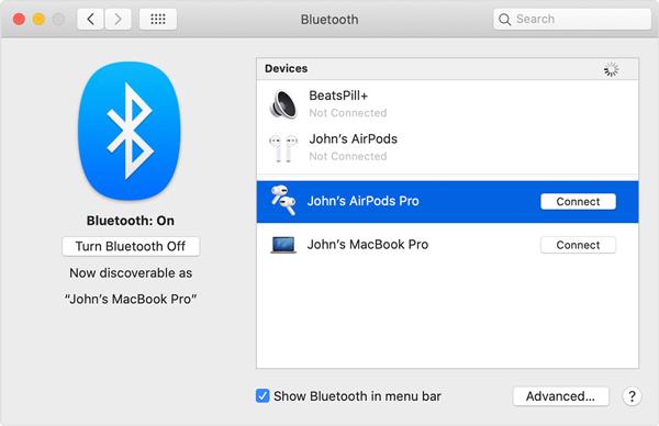 Kontrollera Bluetooth