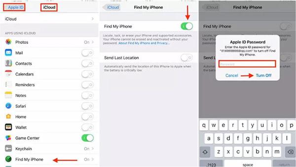 inaktivera hitta min iPhone