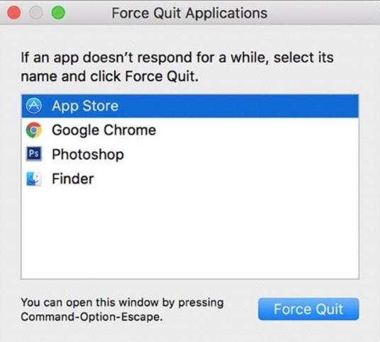 tvinga avsluta app store