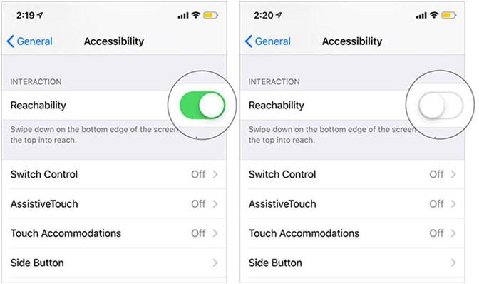 włącz iPhone Reachability