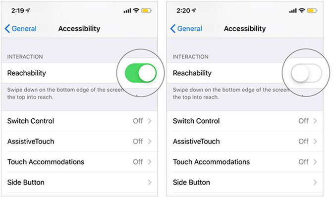 använd iPhone Reachability slå på