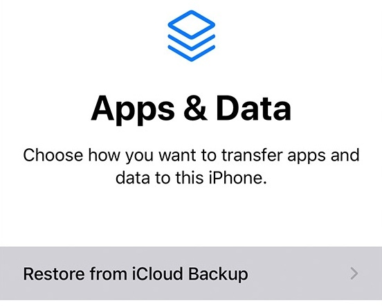 Restore iPhone from iCloud Backup