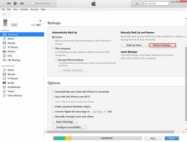 İPhone'u iTunes Backup ile geri yükleyin