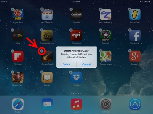 desinstalar la aplicación ipad