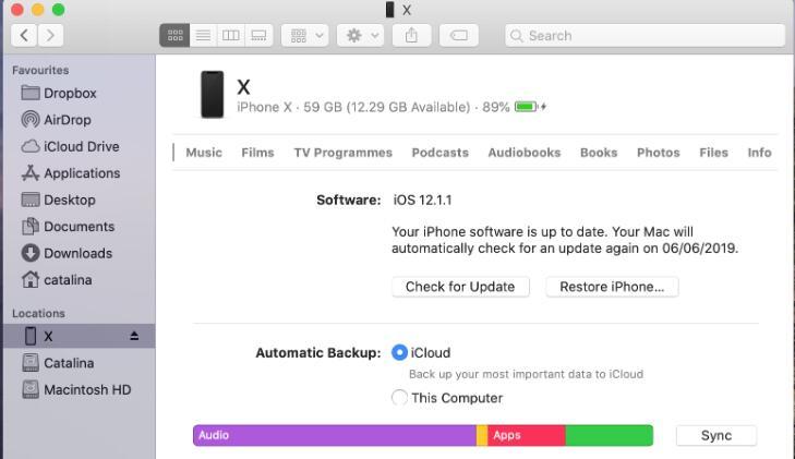 opdater iPhone på Mac