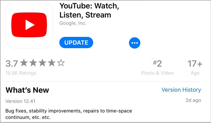 update youtube app on ipad