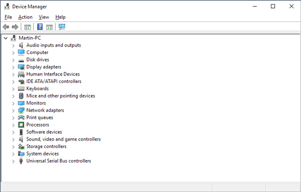 Using Device Manager on Windows