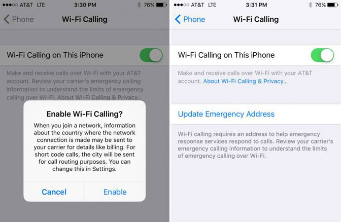 How to Call from iPad set wifi calling