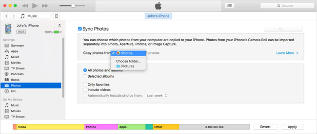 Choose the photos you want to sync from