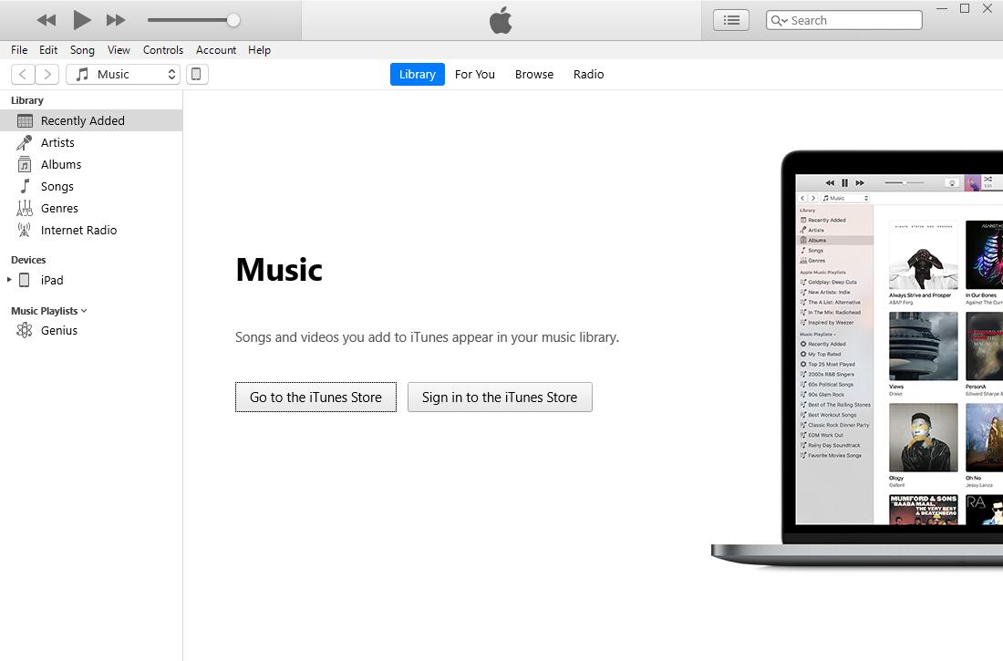 Tilslut ipad til iTunes