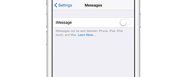 Az iPhone leválasztása az iPad készülékről Az iMessage kikapcsolása