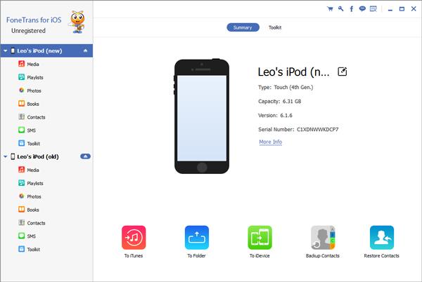 FoneTrans for iOS-grensesnitt for overføring av musikk
