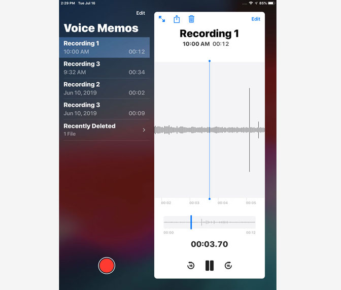 How to Record Audio on iPad by Using Voice Memos play