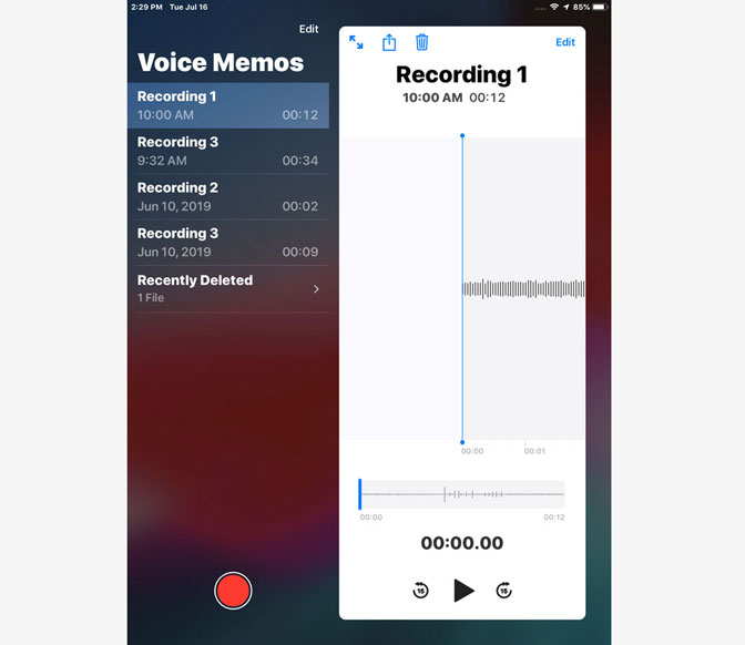 How to Record Audio on iPad by Using Voice Memos recently deleted