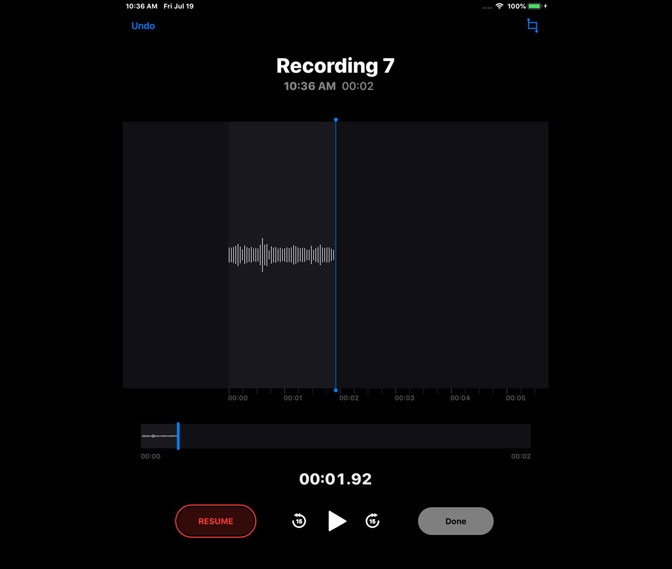 How to Record Audio on iPad by Using Voice Memos resume