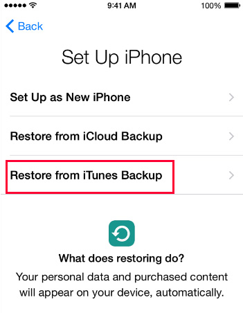 Restaurer à partir d'iTunes Backup