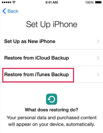 Återställ från iTunes Backup