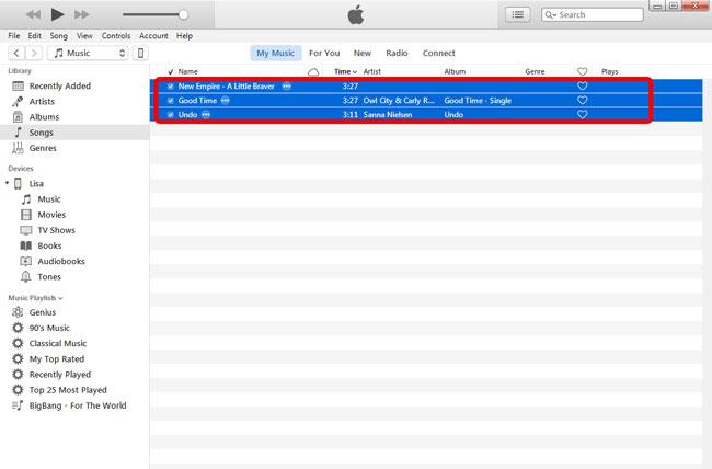 Válassza ki az MP3 fájlokat