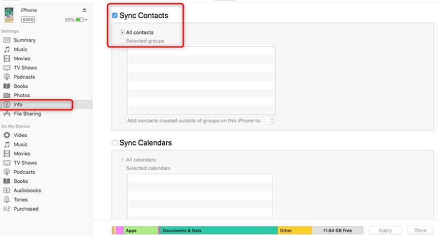 Sincronizza i contatti iPhone con iTunes