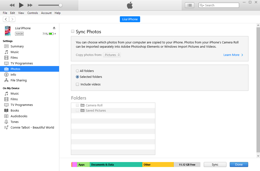 transfer ipad photos with itunes
