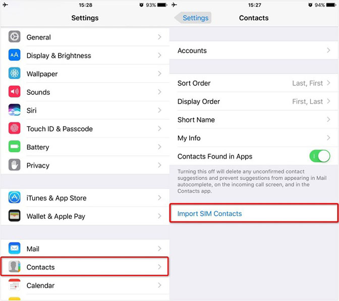 Transfer Contacts between iPad and iPhone simcard