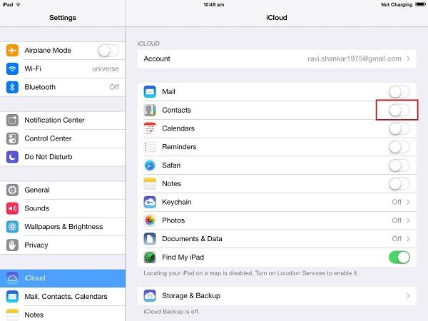 Przesyłanie danych między iPadami za pomocą iCloud Sync w ustawieniach