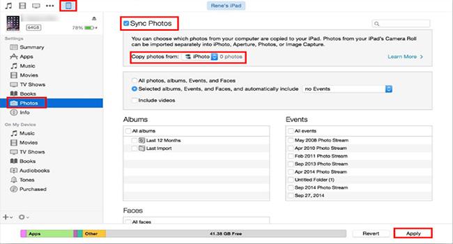 Transférer des photos de l'ordinateur vers l'iPhone
