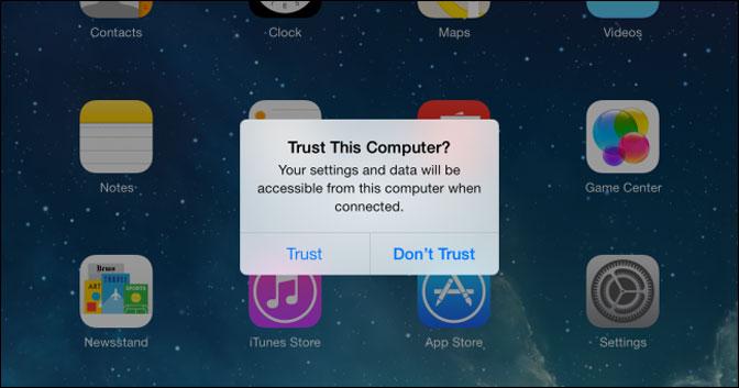 Faites confiance à cet ordinateur iTunes