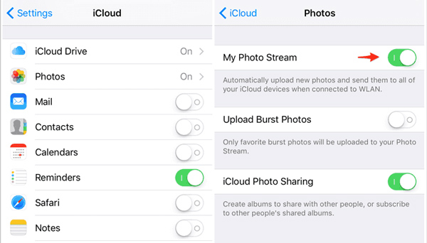 Schalte meinen Fotostream auf dem iPhone ein