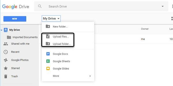 загрузить файл на гугл диск