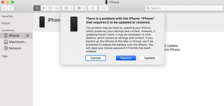 ripristinare iPhone tramite Finder