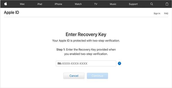 Entsperren Sie den Apple ID Recovery Key