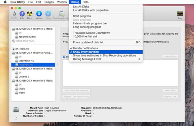 dubug disk utility