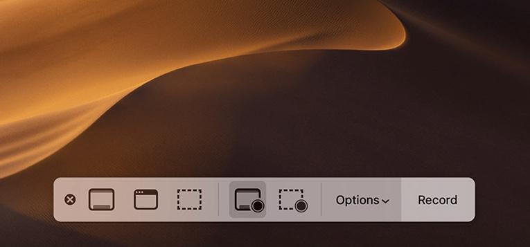 Mac mojave上的屏幕記錄