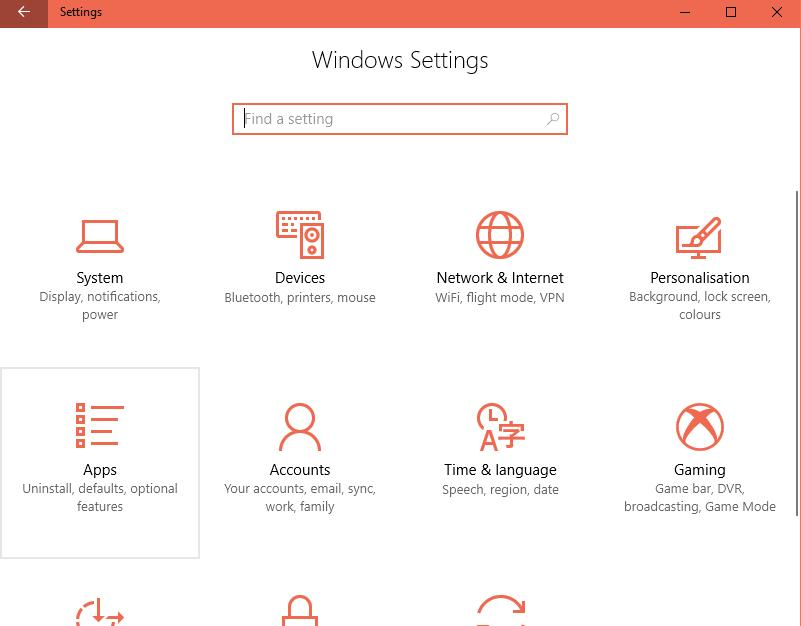 App und Funktionen Windows 10