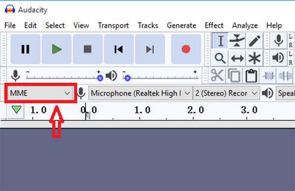 Stellen Sie Audio Host auf MME ein