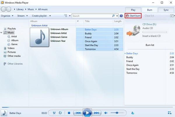 Brennen Sie die CD auf dem Windows Media Player