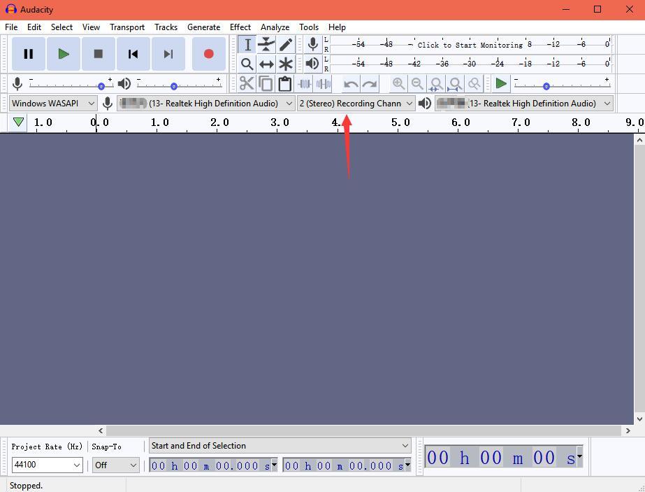choose 2 stereo recording channel audacity