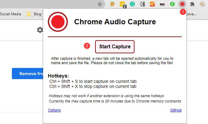 chrome audio capture démarrer la capture