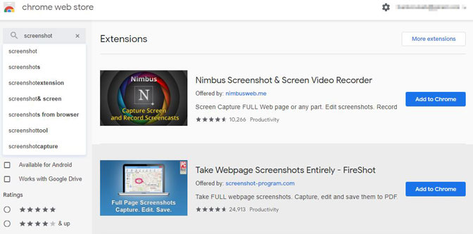 extensión de captura de pantalla de Chrome