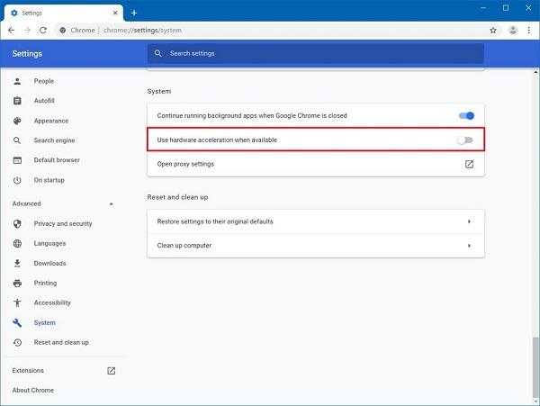 Deaktivieren Sie die Hardwarebeschleunigung in Chrome