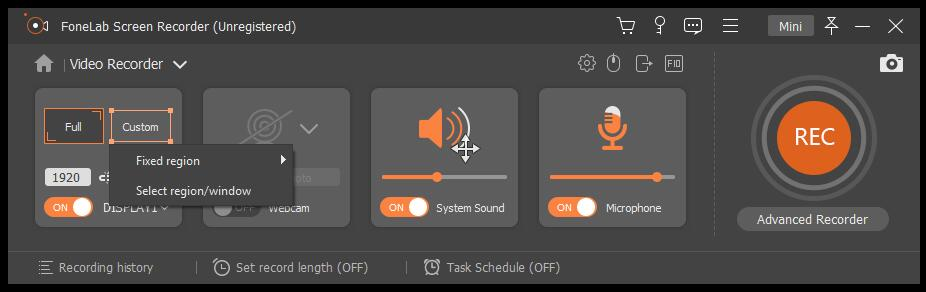 enable system sound on fonelab screen recordr
