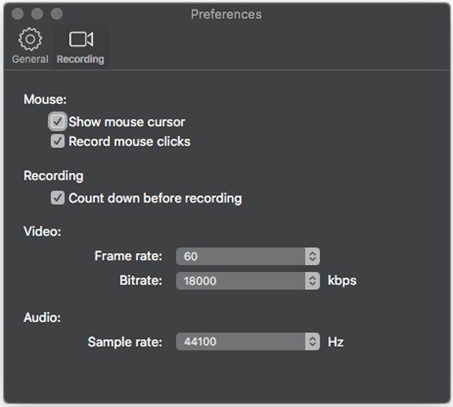 laptop screen recording settings on mac