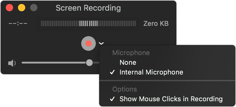 quicktime recorder select internal microphone