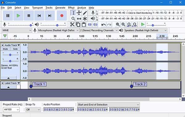 enregistrer de l'audio via audacity