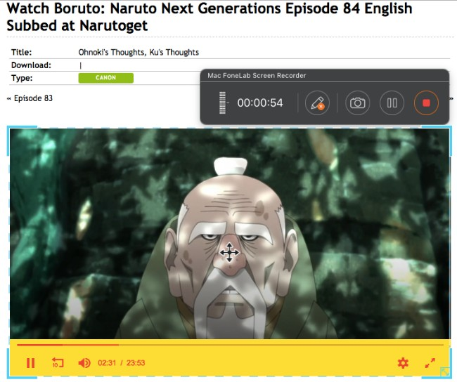 record naruto anime