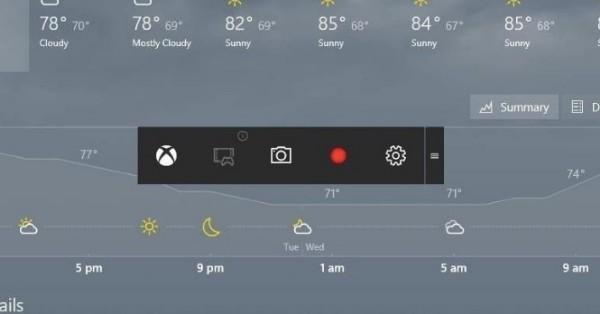 ekran nagrywania z Xbox