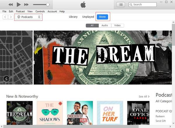 Download podcasts med iTunes