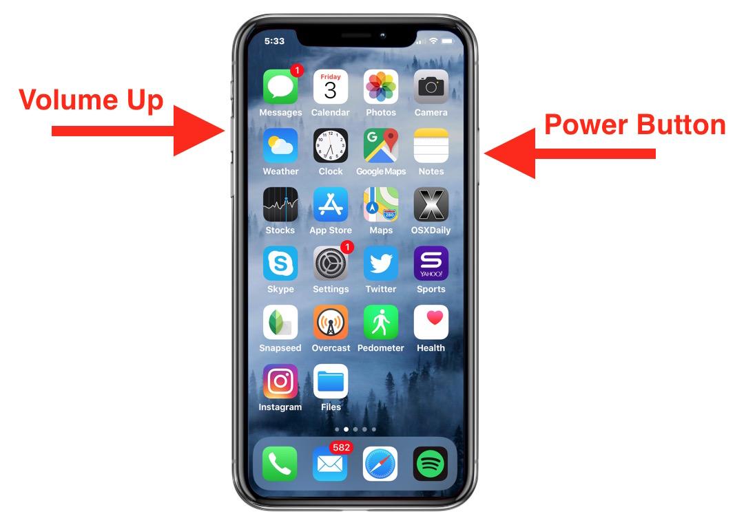 拍攝iPhone XS屏幕快照